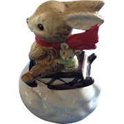 Vintage Otagiri Christmas Music Box Bunny Rabbit & Mouse Figurine Plays Jingle Bells Ceramic Figurine Japan