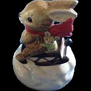 Vintage Otagiri Christmas Music Box Bunny Rabbit & Mouse Figurine Plays Jingle Bells Ceramic Figurine Japan