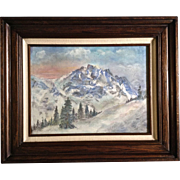 Snow Capped Mountain View From an Opposing Hill, Pastel Works on Paper