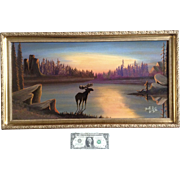 DnR Bull, Oil Painting Moose Standing in a Lake at Sunrise Long Picture Signed by South Dakota Artist