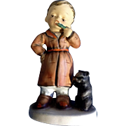 Vintage Napco Bedtime Boy Brushing His Teeth with Toothbrush and His Cat SH1B Mid-Century Japan Figurine