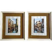 Sari, Watercolor Paintings Venetian Gondola in Canal Waterway Italy, Works on Paper Signed by Artist
