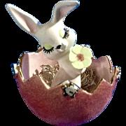 Vintage Easter Bunny Rabbit Spaghetti Flocked Fuzz Pink Egg Mid- Century Ceramic Figurine