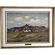 Karel Schauer, Plein Air Landscape Rural Town in the Countryside, Oil Painting on Canvas Panel Signed by Listed Artist