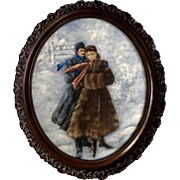 Rose Mary, Russian Winter Portrait of a Man & Woman Oil on Canvas Oval Frame Signed by Artist with a Rose
