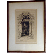 Albany E Howarth (1872-1936), Norman Doorway, Barfreston, Kent, Etching Print Signed by Listed Artist