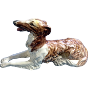Vintage Russian Wolfhound Borzoi Dog Ceramic Figurine Hand Painted and Signed by Artist, Armbrust