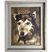 Mike Allan, Terrier Dog Portrait Watercolor Painting on Canvas Signed by Artist