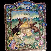 Vintage Easter Bunny Rabbit Godiva Chocolates Cardboard Box 1970 -1980