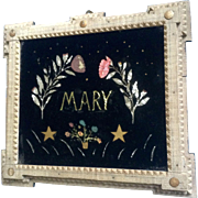 Mary Teuber, Tramp Art Frame Primitive Folk Art Reverse Glass Painting With Foil and Watercolor Paintings By Nebraska Artist