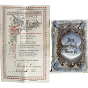 Antique German Baby Announcement Poem Certificate with Silk Boy Blue Pillow