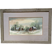 Toni Dane, Watercolor Painting, Small Rural Village or Town in the Snow Works on Paper Signed by Artist