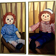 Raggedy Ann and Andy Doll Oil Paintings on Canvas Signed by Artist Jacqueline