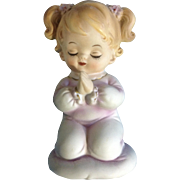 Vintage Lefton Hand-Painted Mid-Century Nightlight Lamp, A Little Girl Praying on a Cloud Ceramic Night Light Japan Figurine 6626