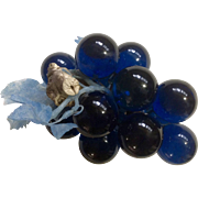 Vintage Blue Colored Grape Cluster with Plastic Blue Leaves on Driftwood Mid Century Acrylic Lucite