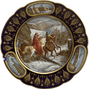 Sevres France Hand Painted Porcelain Cabinet Plate Signed By Artist Moreau, Louis XIII Military Battle, Chipped