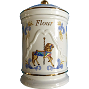 Beautiful Lenox Carousel Horse Flour Canister Jar Blue and Gold Ceramic 1995