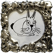 1995 Arthur Court Bunny Rabbit Aluminum Square Photo Picture Frame Desktop
