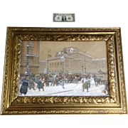 Franz Witt (B 1864 - ) Vienna Opera House Austria New Years Eve, Watercolor Painting Works on Paper, Signed by Listed Artist
