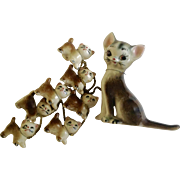 Vintage Cat & 7 Kittens on a Chain CNC Los Angeles Japan Ceramic Figurines