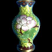 Vintage Handcrafted Miniature Metal & Enamel Floral Asian Cloisonne Vase