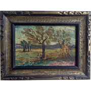 Oil Painting on Wood Panel Landscape with Original Frame 1910-1930 Signed by Artist