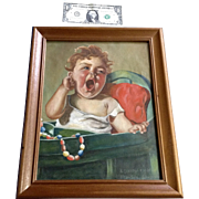 1936 A F Hummel Oil Painting on Canvas, After Segur Gulbransen, Baby Crying Chicago Daily News Dec 7, 1935 Edition