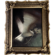 Gorgeous Peaceful Dove in Flight Oil Painting on Canvas in Beautiful Gold Frame