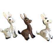 Josef Originals George Good Donkey Zebras Miniature Ceramic Animal Figurines Discontinued Early 1980's