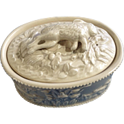 Vintage Oval Rabbit, Hunting Dog & Bird Floral Creamware Trinket Box Initialed Makers Mark on Bottom