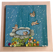 Kelly Frank, Birdies in a Bird Bath in the Rain, Mixed Media Acrylic Painting on Canvas Signed by Artist