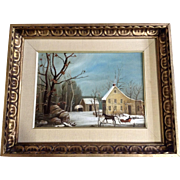 M. Miller, Primitive Folk Art Winter Scene Oil Painting on Canvas Signed by Artist