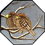 J Gabriel, Two Birds on Snowy Branch, Oil Painting on Board Signed by Artist