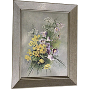 Stunning Large Vintage Shabby Chic Wildflower Bouquet Oil Painting on  Devoe & Raynolds Board 1940's-1950's