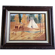 Polly R Hagen, Indian Teepee & Horses Oil Painting on Board Initialed By Artist