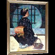 Cissy Chen, Geisha Woman Kneeling in Sukiya-zukuri Traditional Home, Oil Painting Signed by Artist