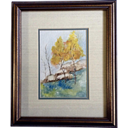 Small Watercolor Painting of Aspen Trees and Rocks Works on Paper Signed by Artist