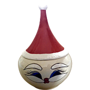 Mid-Century Santa Claus Ceramic Jar Hand Painted Vintage Christmas Signed SG
