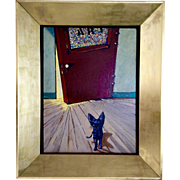 Capra, Bruce (1953- ) Modern Surrealist Black Cat Staring at Art Door, Acrylic Painting Signed by Artist