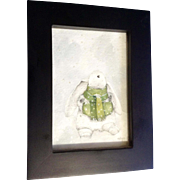 Allyn, White Bunny in the Snow With Green Scarf and Hand Warmer Muff Watercolor Painting Works on Paper Signed by Artist