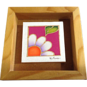 M. Pardor, Miniature Watercolor Mixed Midia Painting, Flower and a Leaf Signed by Mexican Artist