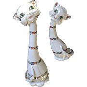 "Retro Italy 16"" Long Neck Kitty Cat Anthropomorphic Hand Painted Ceramic Mid-Century Statue Figurines"