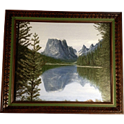 Dick E Becker, Squaretop Mountain Reflected In Upper Green River Lake Wyoming, Oil Painting Signed by Artist