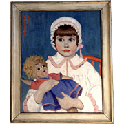 McBroom, Margaret Ann Portrait of a Young Girl, Oil Painting Signed by Artist
