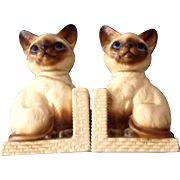 Vintage Japan Siamese Cat Ceramic Bookends Figurines