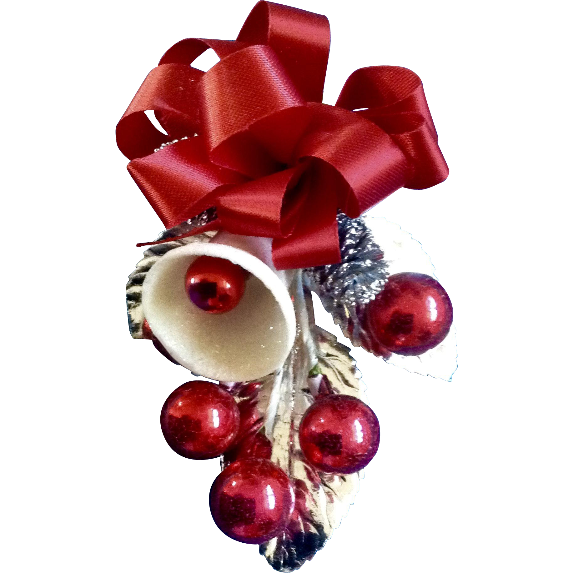 Red glass ball ornaments - Stunning Retro Christmas Sparkle Bell With Red Glass Ball Ornaments And Pinecones