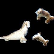 Bone China Miniatures Walrus Set Fine High Gloss Finish Vintage Japan Animal Figurines