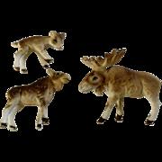 Bone China Miniatures Moose Set Matte Finish Vintage Japan Animal Figurines