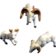 Bone China Miniatures Ram Set Matte Finish Vintage Japan Animal Figurines