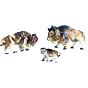 Bone China Miniatures Buffalo Family Set Vintage  Animal Figurines